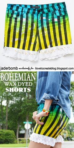 Learn how to create unique tie dyed shorts with a fun technique added to them! @ILoveto Create #jaderbomb