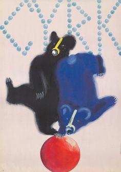 Original Vintage Poster Krzysztoforski Polish Cyrk Bears Animals Circus