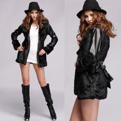 Stylish Women\'s Faux Fur Synthetic Leather Long Jacket Outerwear Coat