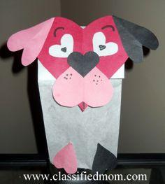 Preschool Crafts for Kids*: Valentine' s Day Heart Dog Puppet Craft