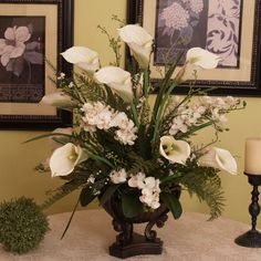 "LARGE 21"" WHITE ARTIFICIAL SILK CALLA LILLY ORCHID FLORAL FLOWER ARRANGEMENT"