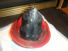 C.1890 Chicago Fire Department Red Leather Helmet And Shield