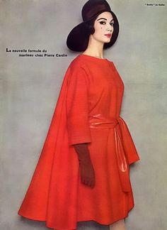 Pierre Cardin Coat, 1961. Model: Simone D'Aillencourt.