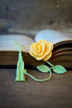 Crochet Flower Bookmark Handmade Yellow Rose by joyoustreasures ETSY pattern $