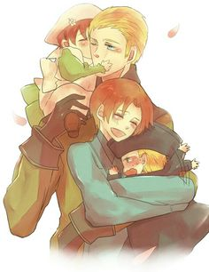 Awww :) Germany and Chibitalia and N. Italy and Holy Rome.