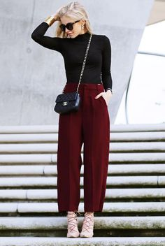 spring / summer - fall / winter - street style - chic street style - casual outfits - fashion week - fall outfits - work outfits - business casual - office wear - party outfits - black turtle neck top + black shoulder bag + burgundy culottes + nude lace up stilettos + black sunglasses