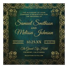 #Vintage Green Gold Oriental Wedding Invitation - #deco #gifts