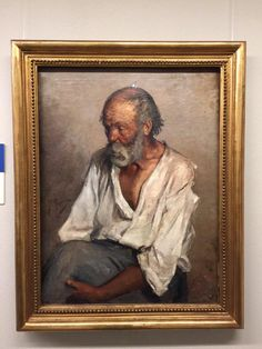 """The Old Fisherman"" (1895), by Pablo Picasso. Oil on Canvas; Montserrat Abbey, Barcelona; his early work. A portrait of Manuel Salmeron Castellano, a sailor from Motril who was hired by Salvador Ruiz Blasco as a model for his nephew Pablo"