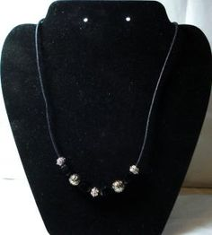 Bali Bead & Black Faceted Bead Cord Necklace - FREE Shipping!