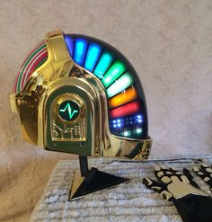 Daft Punk Guy Manuel Led Helmet with gloves necklace and stand!