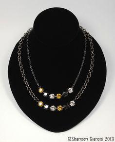 Swarovski 6-Crystal Necklace - Sunflower, Jet Hematite and Crystal. $40.00, via Etsy.