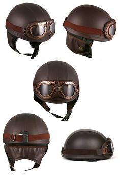 vintage-german-style-half-motorcycle-biker-helmets