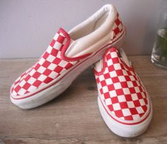 c32113ced2 vintage Red White checkered Vans guys 4 1 2 4.5 Womens 7