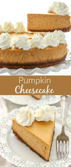 smooth and creamy pumpkin cheesecake with an easy homemade gingersnap cookie crust. The perfect dessert for fall!A smooth and creamy pumpkin cheesecake with an easy homemade gingersnap cookie crust. The perfect dessert for fall! Pumpkin Cheesecake Recipes, Pumpkin Recipes, Cheesecake Desserts, Homemade Cheesecake, Homemade Snickers, Raspberry Cheesecake, Pumpkin Cheese Cake Recipe Easy, Pumkin Cheese Cake, Fall Deserts Recipes