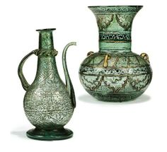 Syria, Ottoman period, 19th c., gilt enamelled glass mosque lamp and ewer
