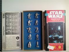 "This Star Wars ""Imperial Forces"" Vintage Lead Figurine Set consists of 10 lead figurines, all roughly 1 inch/ 25mm in height, still in box, all unpainted. The date stamp on the bottom of all the figurines is 1988, along with ""Lucasfilm"" stamp."