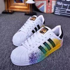 Reworked Handmade Adidas Style Lingerie or Fashion by Addidas Sneakers, Girls Sneakers, Adidas Superstar, Adidas Mode, Diy Vetement, Hype Shoes, Adidas Shoes Women, Fresh Shoes, Adidas Fashion