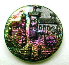 Antique Black Glass Button w Carnival Luster House w Tower Through A Gate 1880-95 | eBay