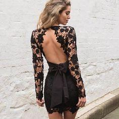 9dee9fab0a9 2016 Women Deep V-neck Long Sleeve Lace Floral dress backless Mini Bodycon  Dress with bow belt Dresses Vestido