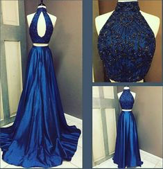 Dark blue two pieces long prom dress, evening dress