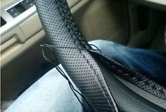 New BLACK Leather Steering Wheel Cover With Needles & Thread DIY  SIZE S USA