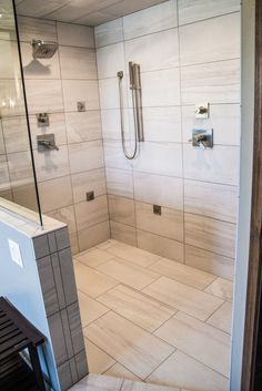 Tiled Shower: Porcelain Tile, Angora, Amelia Mist, 12x24