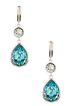 Candela Sterling Silver Turquoise Swarovski Crystal Accented Dangle Earrings