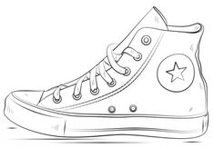 Converse Shoes coloring page from Clothes and Shoes category. Select from 26794 printable crafts of cartoons, nature, animals, Bible and many more.
