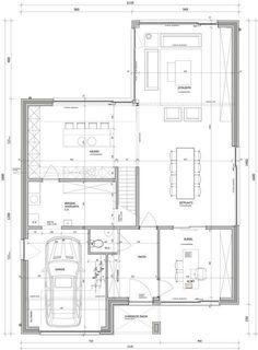 Building Plans, Building Design, Building A House, Modern House Plans, House Floor Plans, Compact House, Apartment Floor Plans, Elevation Plan, Arch Interior