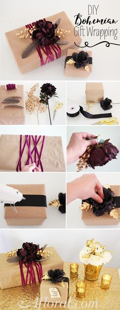 Decorate your gifts boho chic with silk flowers, feathers and ribbon from Afloral.com. Perfect for the holidays or a boho themed wedding.