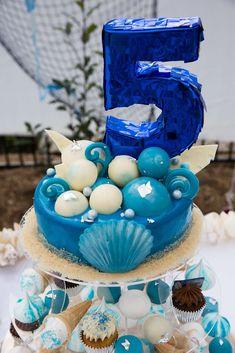 Amazing cake at a sea princess birthday party!