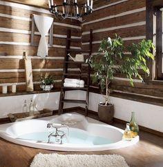 Μπάνιο με πλακάκι τύπου ξύλο στο δάπεδο αλλά και στον τοίχο