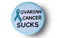 Cancer Sucks Awareness Button - Ovarian Cancer (Teal)