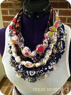 @AquaSeventy6 Fabric and Bead Necklaces