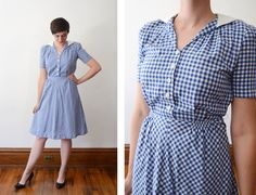 "Description: Most adorable little gingham dress with a crisp white collar, white flower buttons on the bodice, and side button closure at the waist. Has shoulder pads. Measurements of garment, allow some space for fit. Shoulder to Shoulder: 14"" Bust: 38"" Waist: 26"" Hips: 40"" Length: 40"" Sleeve Length from shoulder: 9.1/4"" Sleeve cuff: 12"" (I take my measurements flat, and double for circumference.)   Tag: Queen Make  Fabric: Cotton  Condition: Excellent. Washed, seams strengthened, and i..."