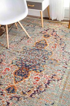 nuLOOM Distressed Persian Sarita Grey Rug | Modern Rug by nuLOOM at Contemporary Modern Furniture  Warehouse - 3