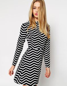 ASOS | ASOS A-Line Dress with Funnel Neck in Monochrome Zig Zag Print at ASOS