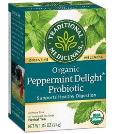 Peppermint Delight Probiotic Traditional Medicinals Wellness Teas Herbal Leaves, Lemon Balm Tea, Dandelion Leaves, Raspberry Leaf Tea, Organic Herbal Tea, The Balm, Herbalism, Traditional, Beverages