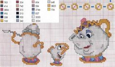 Just Cross Stitch Patterns Disney Cross Stitch Patterns, Counted Cross Stitch Patterns, Cross Stitch Charts, Cross Stitch Designs, Cross Stitch Embroidery, Cross Stitch Kitchen, Cross Stitch For Kids, Cross Stitch Baby, Beauty And The Beast Cross Stitch