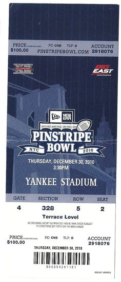 2010 Pinstripe Bowl Game Full Ticket Syracuse Kansas State....if you like this you can find many more college bowl game tickets for sale at.....www.everythingcollectibles.biz
