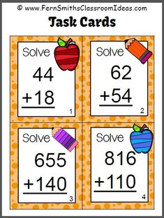 #FreebieFriday ~ #FREE Addition of Multi-Digit Whole Numbers Within 1000 Sample Task Cards #TPT