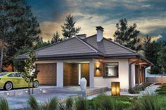 Projekt domu Sfinks VI 94,85 m2 - koszt budowy - EXTRADOM Modern Bungalow House Plans, My House Plans, Village House Design, Village Houses, Beautiful House Plans, Beautiful Homes, House Design Pictures, Architecture Art Design, Design Case