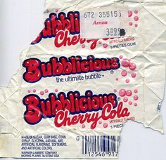 """bubblicious bubble gum flavors, """"crazy"""" back in the day. Check out the tag! Aesthetic Backgrounds, Aesthetic Wallpapers, Bubblicious Gum, Old Candy, Apple Watch Wallpaper, Vintage Packaging, Photo Wall Collage, Retro Aesthetic, Bubble Gum"""