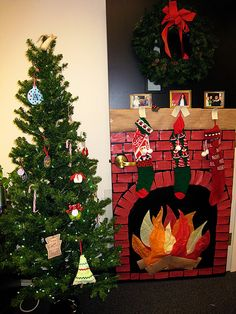 Our office door decorated for Christmas. The stockings were hung by the chimney with care.
