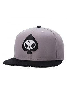 5ff936ad Mens Skull Embroidery Fitted Flat Bill Hats Cool Snapback Hip Hop Cap-  Medium- Grey - CR12D11WBSZ