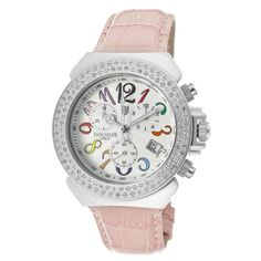 @Overstock - This Lancaster Italy women's pink genuine leather watch features a light silver dial. With white diamonds details, this watch includes Chinese chronograph quartz movement and secures with a deployment clasp.http://www.overstock.com/Jewelry-Watches/Lancaster-Italy-Womens-Pink-Genuine-Leather-Watch/7482476/product.html?CID=214117 $289.99