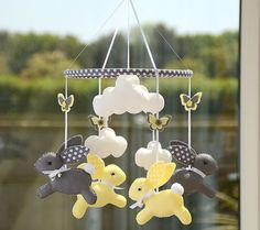 Nursery Mobile Bunny Mobile Yellow Grey Mobile by FlossyTots
