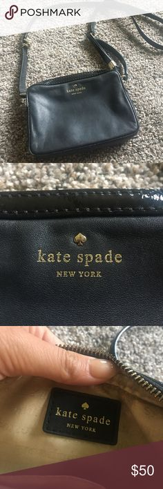 Kate spade crossbody Used but still in very fair condition! A few stains on the bottom inside as pictured but I'm sure it can be cleaned! Please ask if you have any questions :) kate spade Bags Crossbody Bags