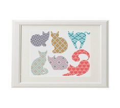 Cute cats looking for his master with a soft sofa! Each of the six cats can be used for decorating clothes, bags, pilow, accessories ... Set of 6 cats Geometric cross stitch animal cross stitch pattern, Cat cross stitch pattern. If cats embroidered in one color - also looks very good! ❤ ❤ ❤ You can always find and download them here: You> Purchases and reviews ❤ PATTERN DETAILS ❤ PDF Pattern Stitches: 116 X 88, one cat average of about 40 X 30 Fabric: Aida 14, Any fabric you like Floss: ...