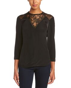#RebeccaTaylor Long Sleeve Silk & Lace Stripe Top - was $325 now $129.99